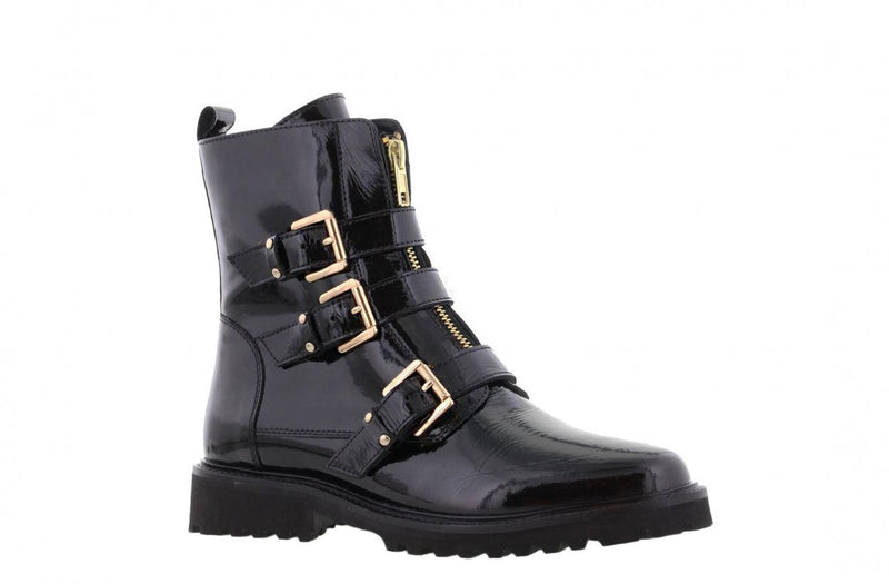 Bee 565-c black patent leather front zipper/buckles gold - black sole
