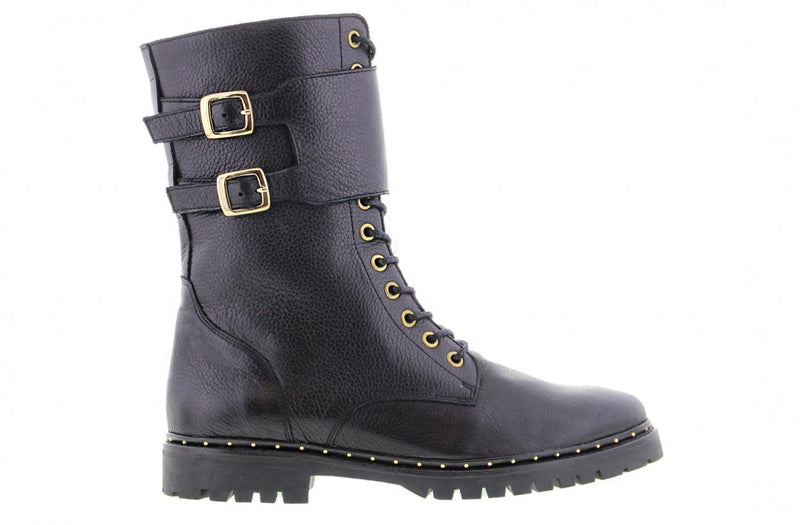 Bee 567-a black leather high lace up boot/buckles - black sole/studs welt