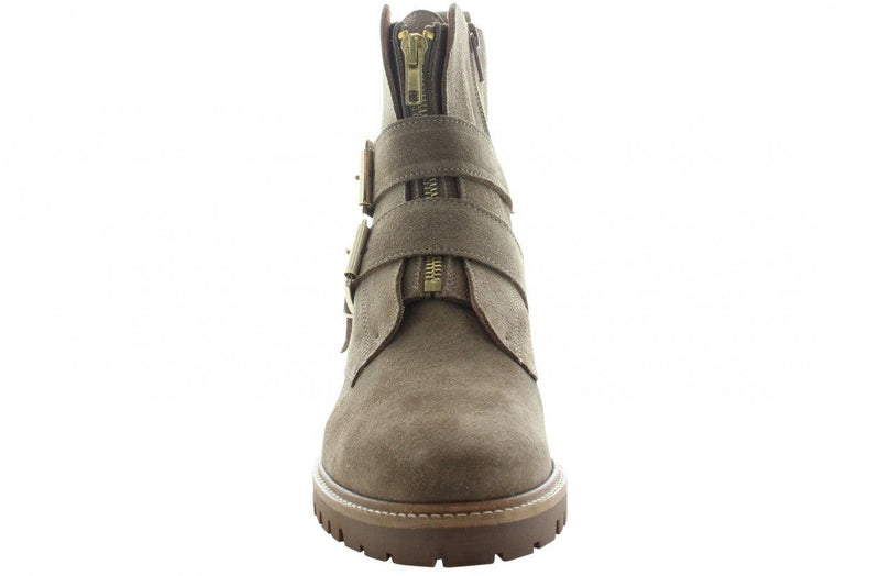 Bee 75-c taupe suede front zipper/buckles - gum sole
