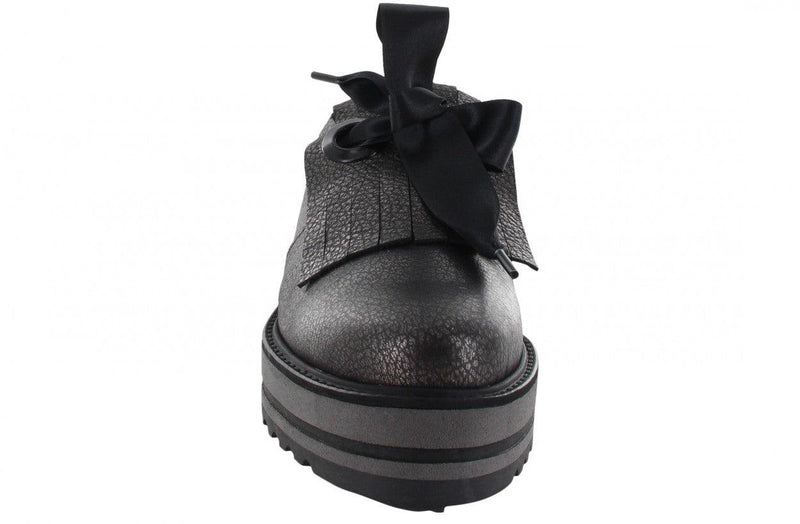 Bee striped 1-e black metallic tumbled leather clap/satin laces - black/grey sole