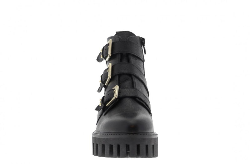 Bee cartel 1-a black leather/studs straps - black sole/studs welt