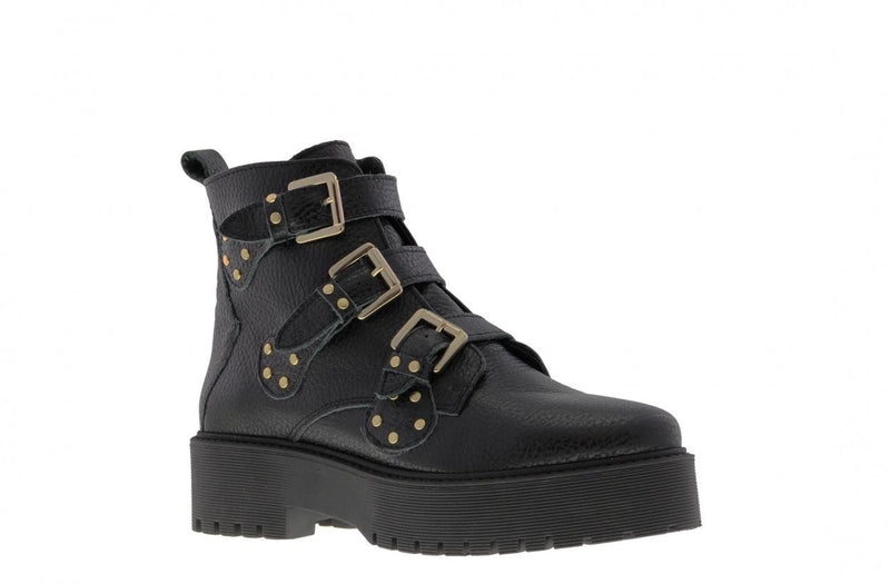 Bee chunky 52-b paulien tilstra black leather/ golden studs straps - black sole