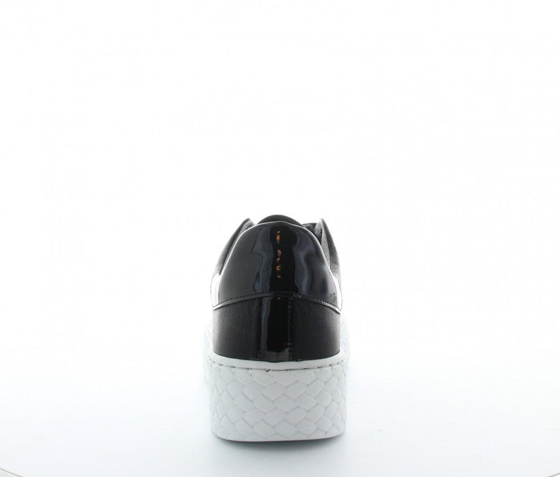 Bibi 12-g black leather white outsole