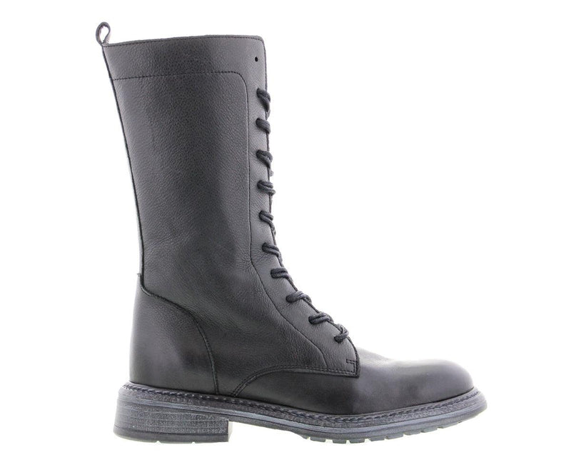 Cate 19-a black leather biker boot/zipper - black sole