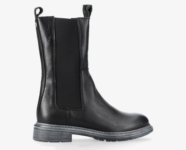Cate 20-a black PRE-ORDER leather high chelsea boot - black sole