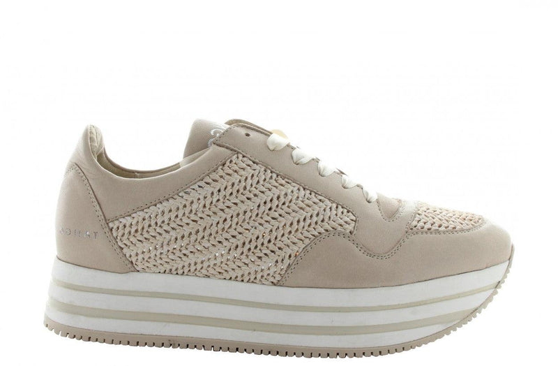 Danielle 1-b p/w off white leather/raffia jogger - white/beige sole