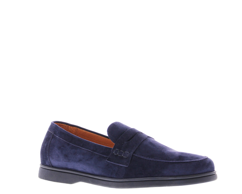 Elias 5-b navy kid suede loafer - navy sole sole