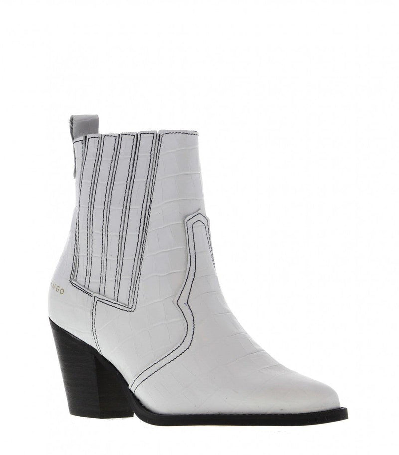 Ella Western 17-a white croco leather boot with black stitching - black heel/bl
