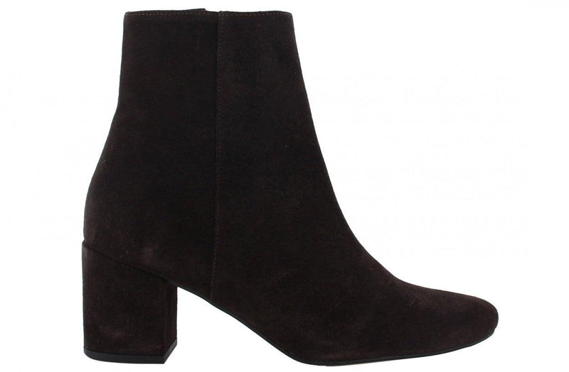 Ella block 1-a dark brown suede print basic boot - covered heel/black sole
