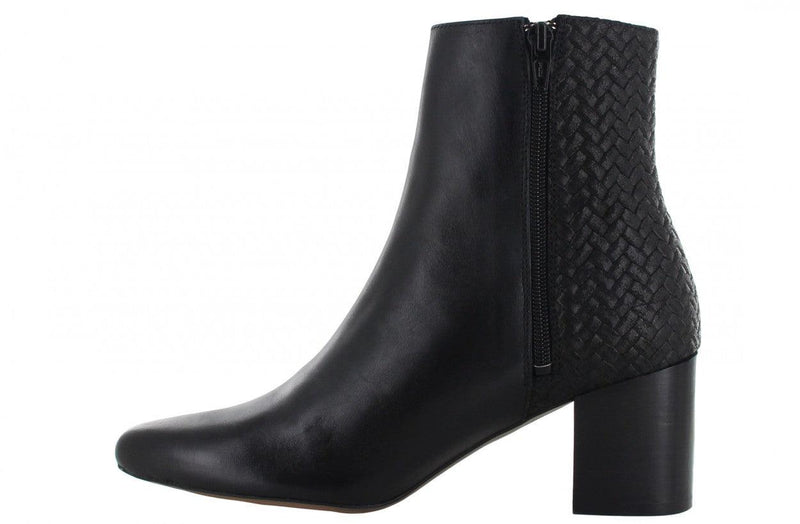 Ella block 1-d black shiny leather basic boot/braided backpart - black heel/black sole