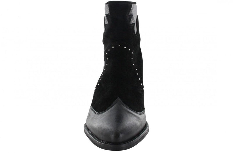 Ella western 6-a  black leather/suede STUDS western boot/back zipper - black wooden h