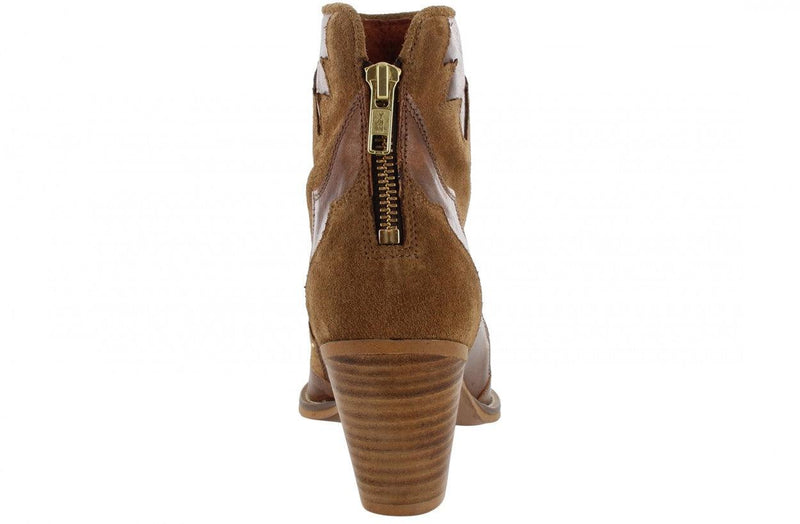 Ella western 6-b cognac leather/suede STUDS western boot/back zipper - wooden heel/da