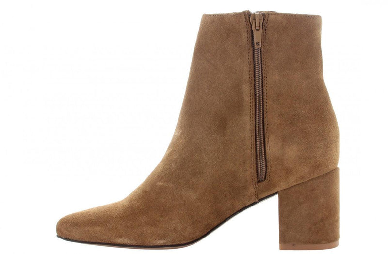 Ella block 1-b cognac suede basic boot - covered heel/brown sole