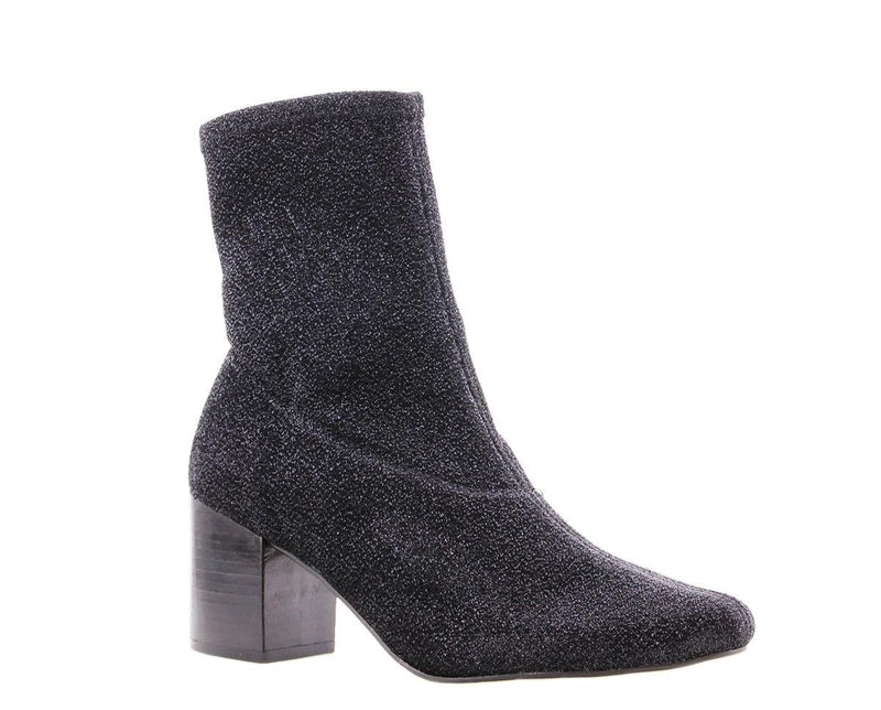 Ella block 5-d Tiany Kiriloff black metallic stretch boot - black heel/black sole