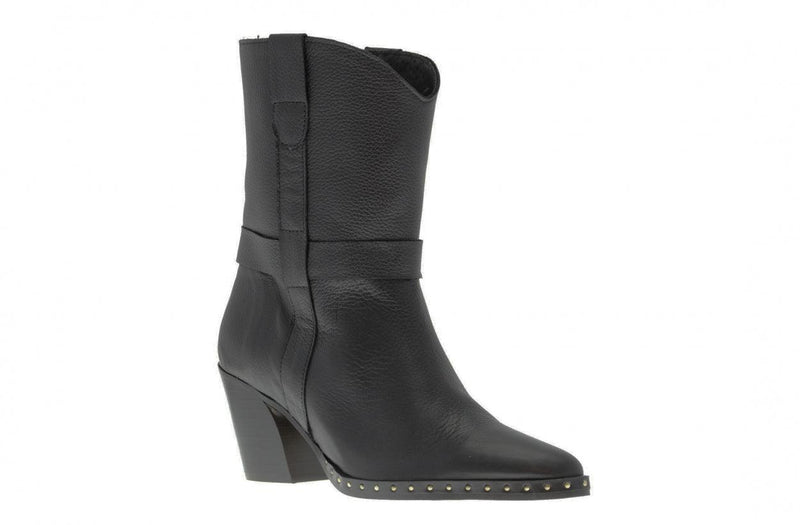 Ella oblique 1-a black leather boot - black heel/sole/studs