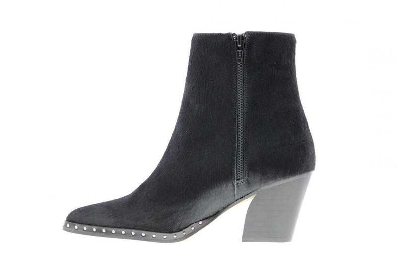 Ella oblique 10-g black pony boot - black heel/sole/studs