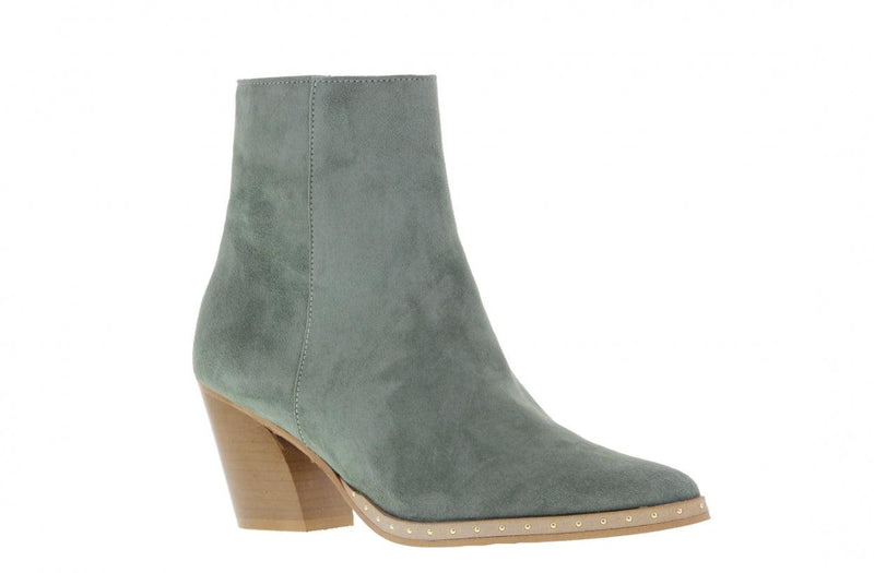 Ella oblique 10-r green suede - wooden sole gold studs