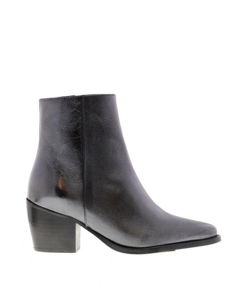 Ella square 10-d gun metal crack leather boot - black heel/sole