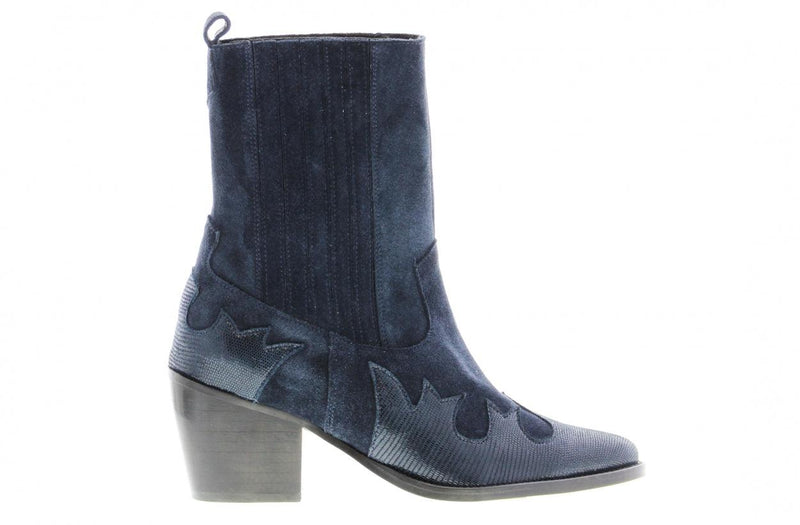 Ella square 6-e navy suede/leahter chelsea western boot - black heel/sole