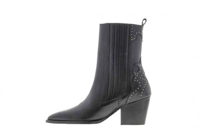 Ella square 9-a black leather/silver studs western ankleboot - black heel/sole