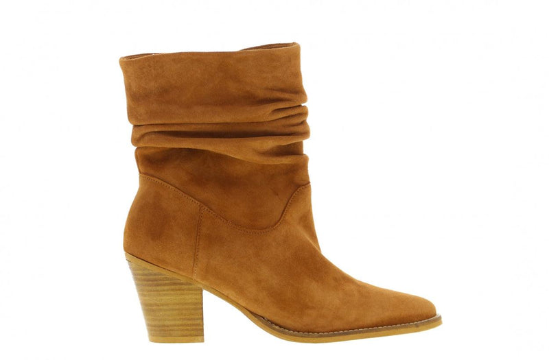 Ella western 21-d cognac suede wrinkle boot - natural heel/sole wooden heel/sole