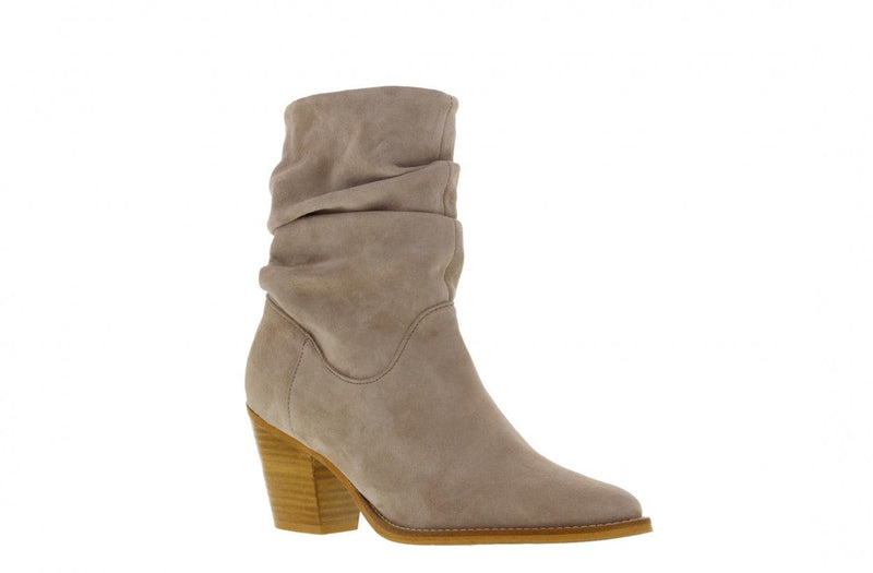 Ella western 21-f taupe suede wrinkle boot - natural heel/sole wooden heel/sole