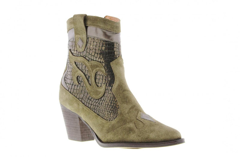 Ella western 24-b khaki leather/suede western boot - dk brown heel/sole