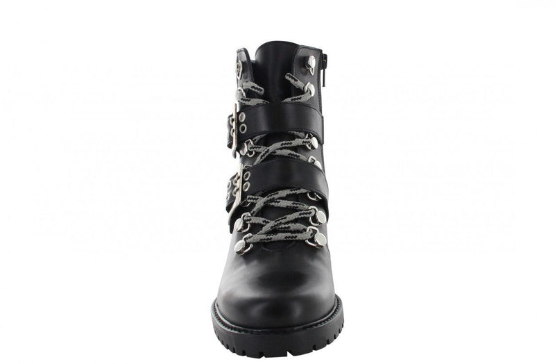 Emily Sportive 10-a black shiny leather hiking boot/checked back - black sole