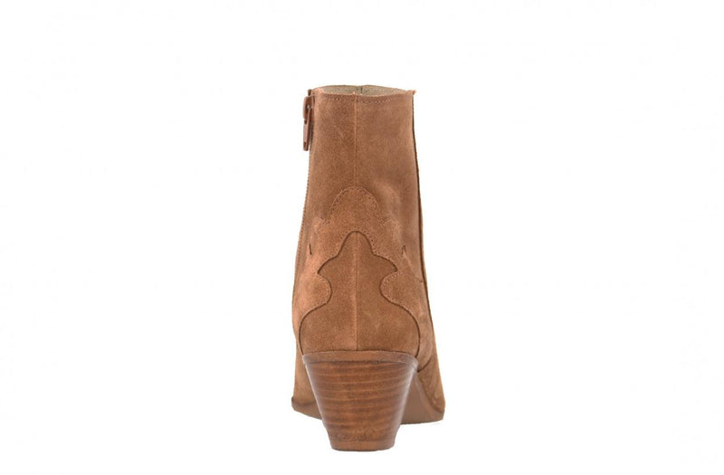 Evita 1-a cognac suede boot - wooden heel/natural sole