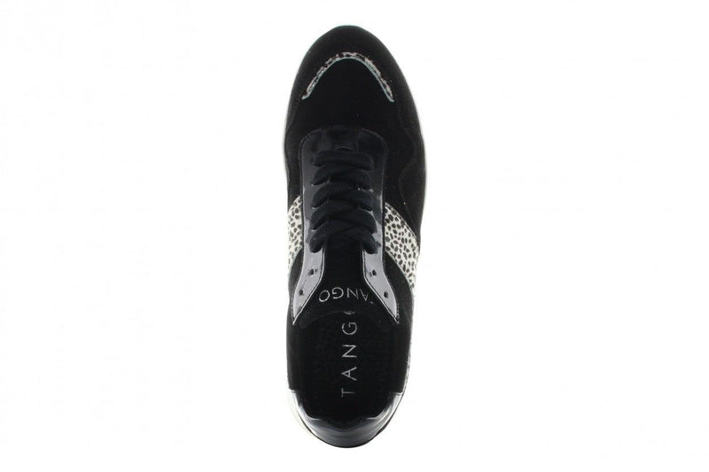 Haley 12-a p/w black suede/animal/patent - white outsole