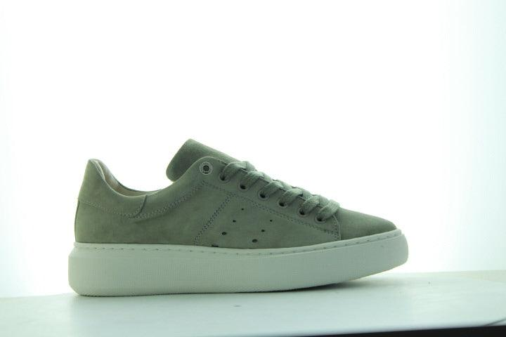 Ingeborg 1-bp light green kid suede sneaker- off white outsole