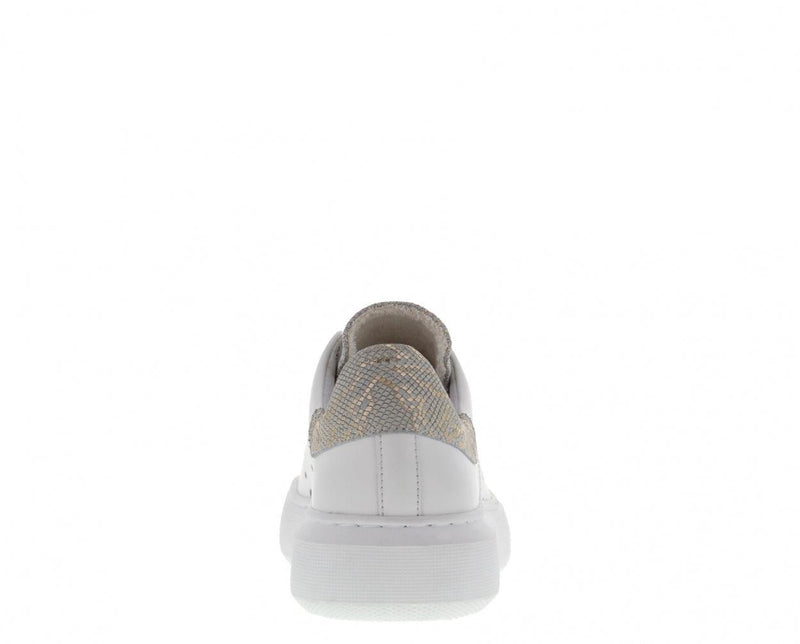 Ingeborg 1-bx white leather sneaker/gold tongue - white outsole