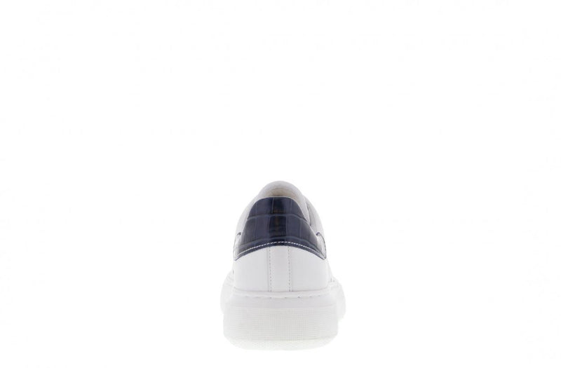 Ingeborg 1-cad white leather/navy croco - white sole