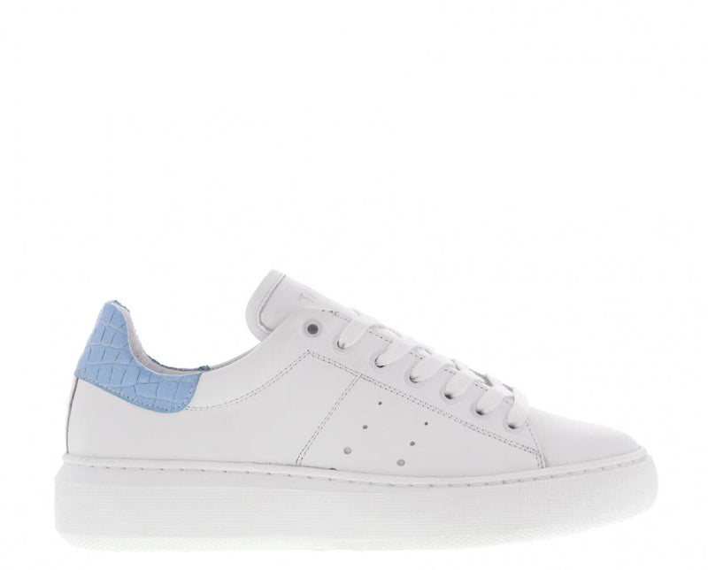 Ingeborg 1-ce white leather/lt blue croco - white sole
