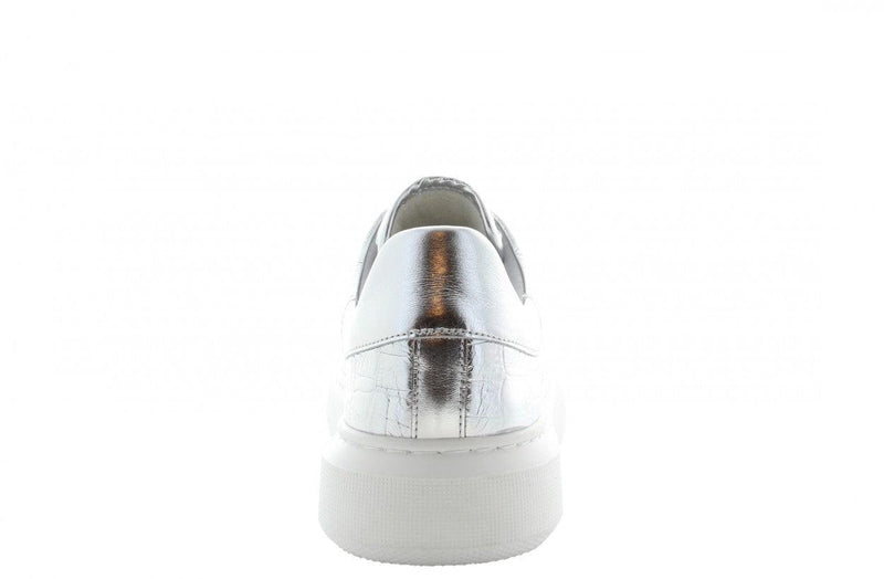 Ingeborg 1-y silver leather croco print - white sole