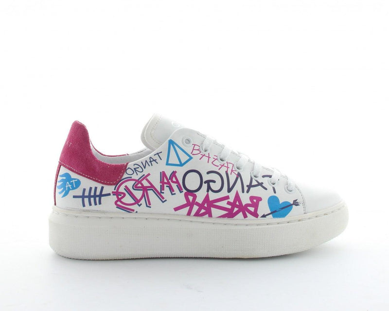 Ingeborg 2-i white leather/coloured graffiti - white sole