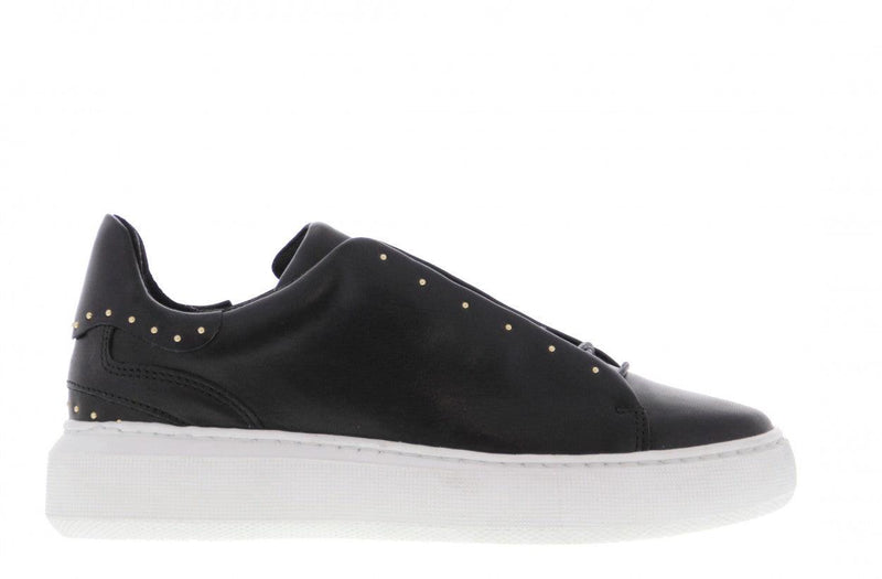 Ingeborg 20-b black leather/blind closure sneaker/studs - white sole