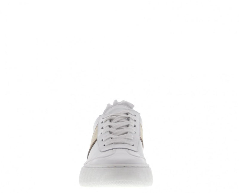 Ingeborg 30-a white leather sneaker/gold strap - white sole