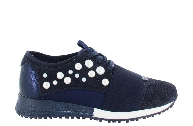 Jessy kids 8-a dark blue suede/neoprene combi with pearls - dark blue/white sole