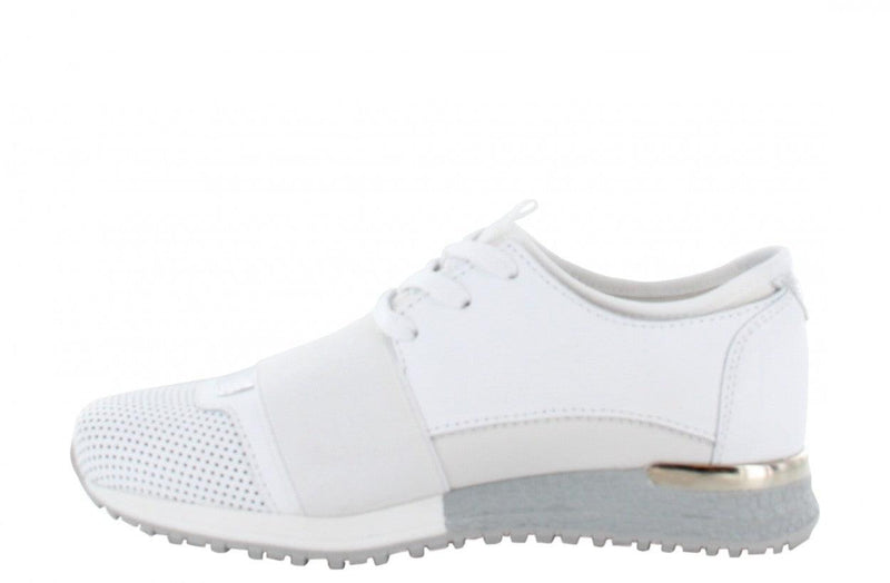 Jessy kids 8-d white leather/neoprene combi with pearls - white/silver sole