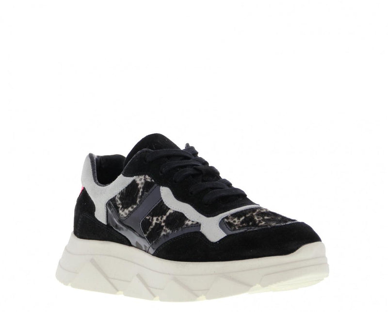 Kady fat 1-f black/off white suede/pony giraffe combi jogger - white sole