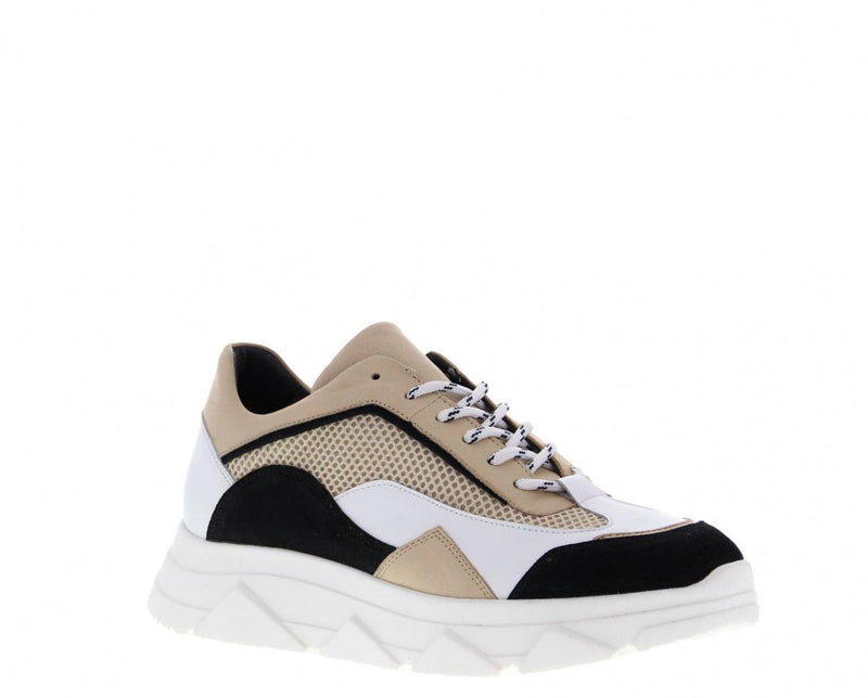 Kady fat 22-b mt black/white/beige leather/suede combi sneaker - white sole