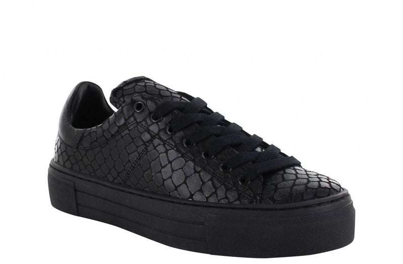 Katja 4-v black metallic croco sneaker - black sole