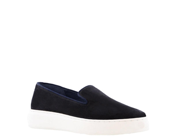 Luna 14-b navy waxed suede loafer - white sole