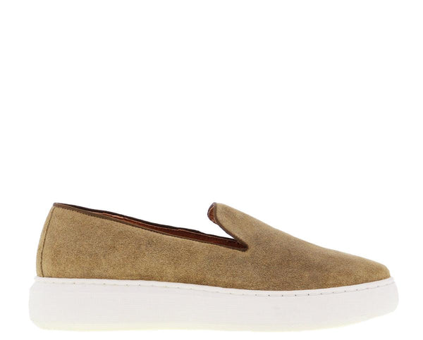Luna 14-c taupe waxed suede loafer - bone white sole