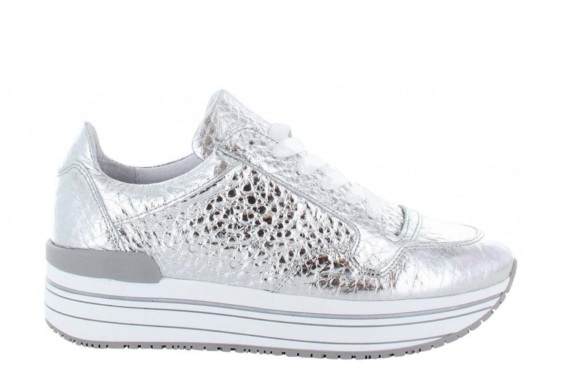 Marike 12-h silver tumbled leather sneaker - white/grey sole