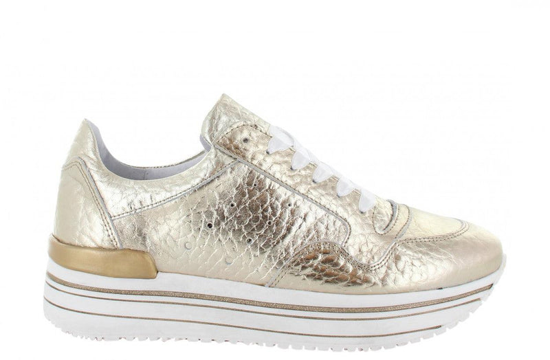 Marike 12-j gold tumbled leather sneaker - white/gold sole