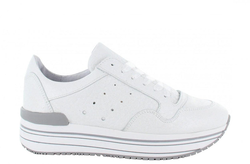 Marike 12-p white tumbled leather sneaker - silver/white sole