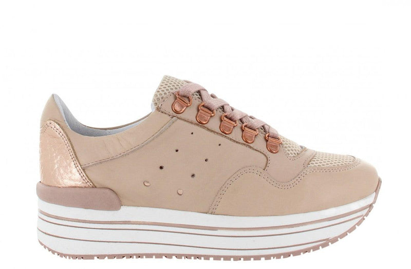 Marike 34-a nude leather basic + D-rings - white/nude sole