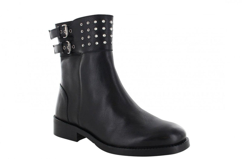 Mirella 14-a black bufalo leather/strap with studs - black sole